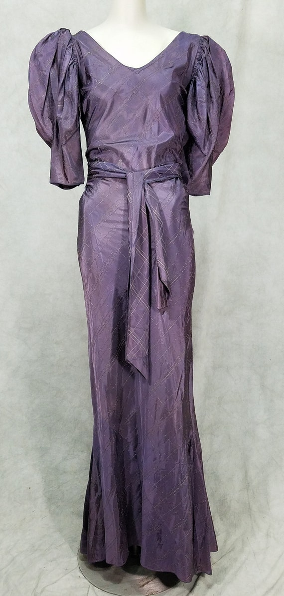 1930s Dress Purple Flared Deep V Back Vintage Form