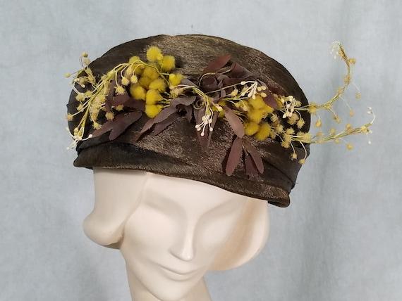 1920s Cloche Hat Flowers Excellent