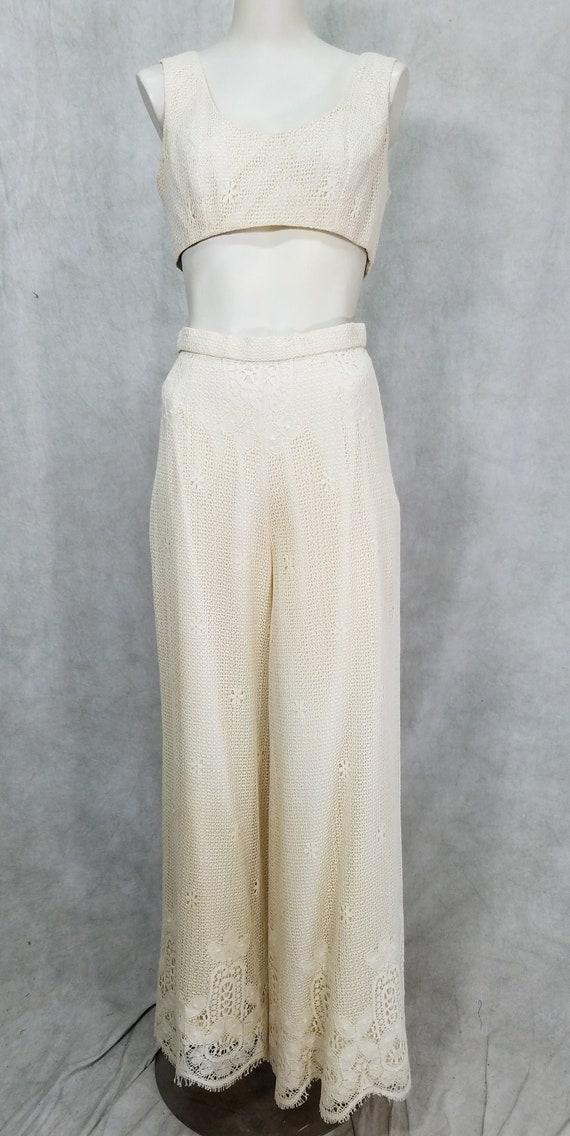 1970s Knit 3 Piece Lace Pant Top Jacket