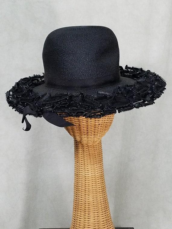 1950s Hat Schiaparelli Designer Vintage Hat Black