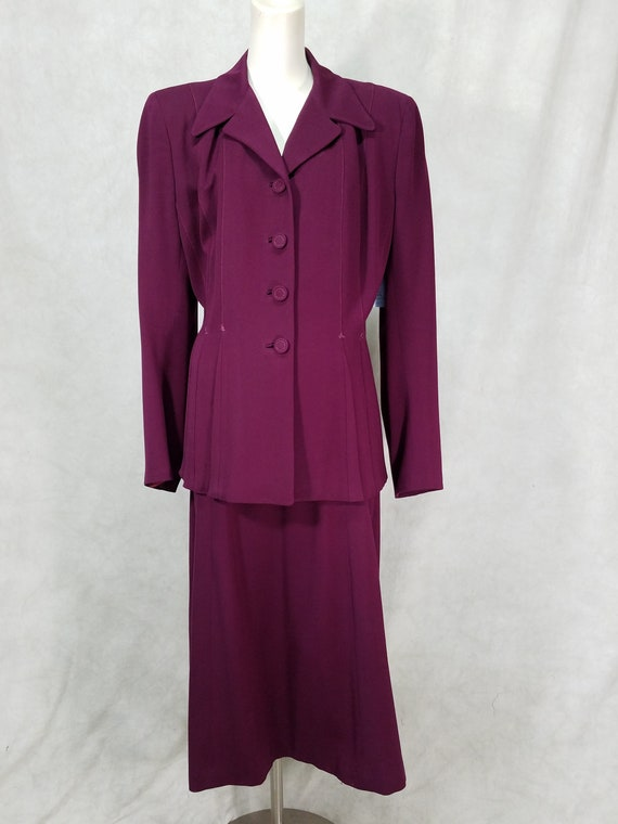 1940s Suit Purple Gabardine Womens 1940s Suit Larg
