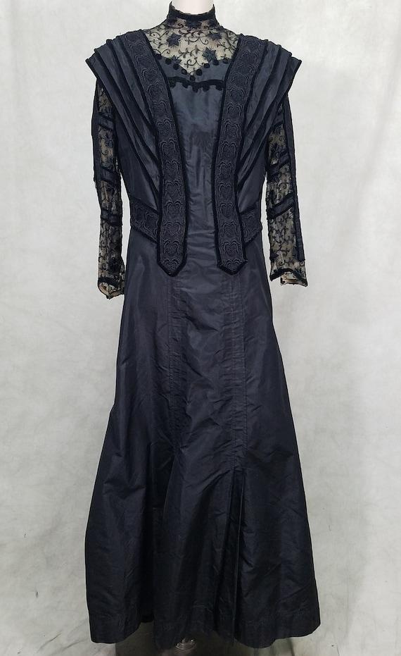 1800s Dress Large Size Black Edwardian Victorian D