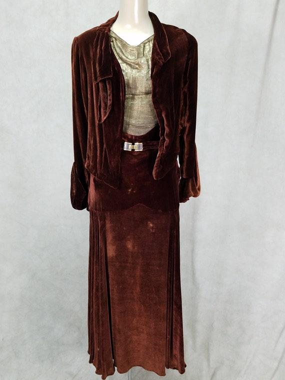 1920s Dress 2 Piece Velvet Detail Sleeve Jacket 30