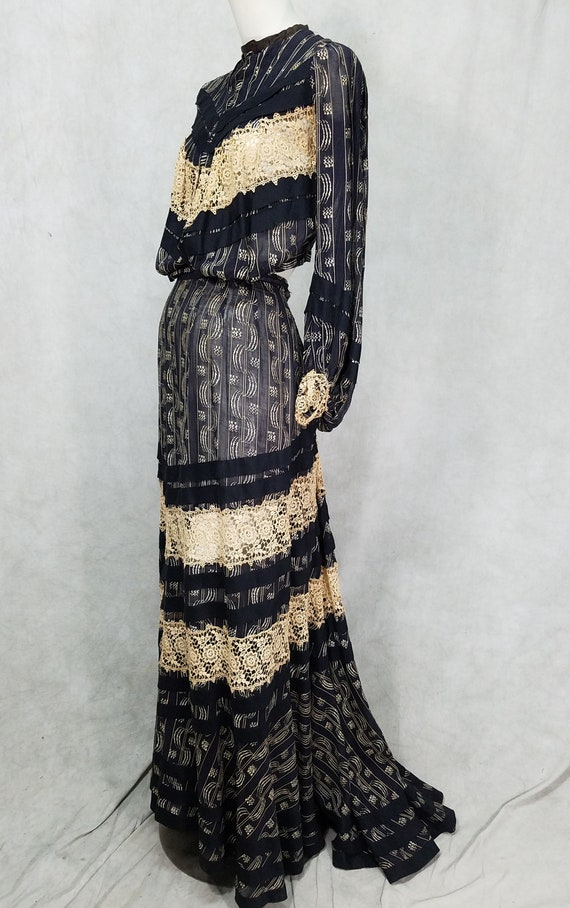 1900s Dress Edwardian Tea Dress Lace Black