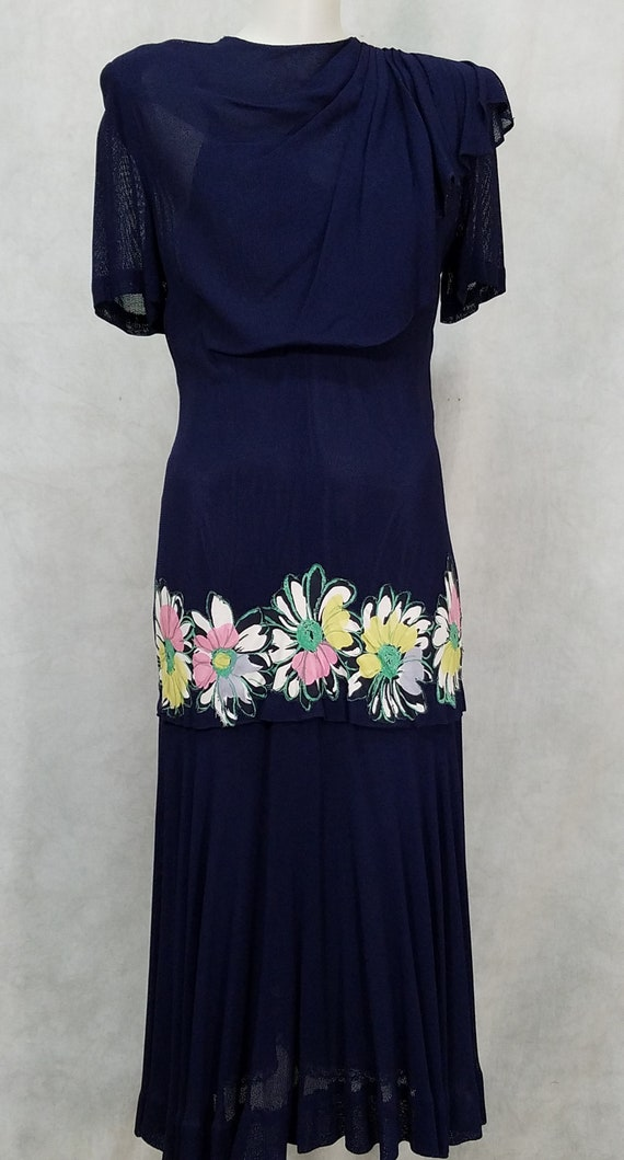 Hand Painted 1940s Dress 50s Dress Vintage Full Sk