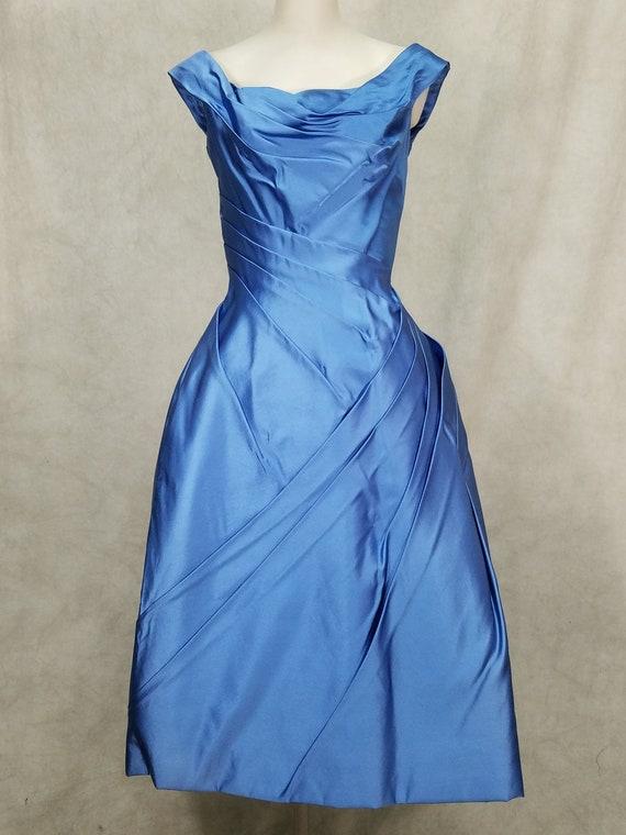 1950s Dress Ceil Chapman Designer Blue Unusual Des