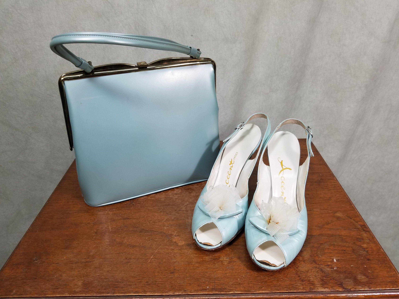 1950s Handbags, Purses, and Evening Bag Styles 1950S Heels Handbag Set Shimmer Pale Blue Leather Purse By Tempura Sitiletto Heel $125.00 AT vintagedancer.com