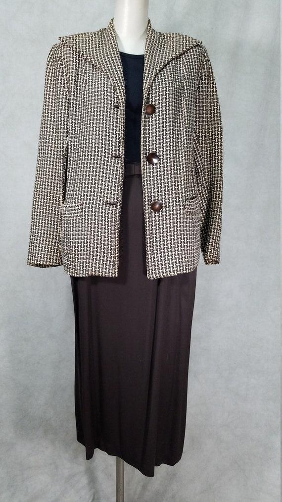 1950s Suit Gabardine Skirt Wool Blend Jacket Vinta