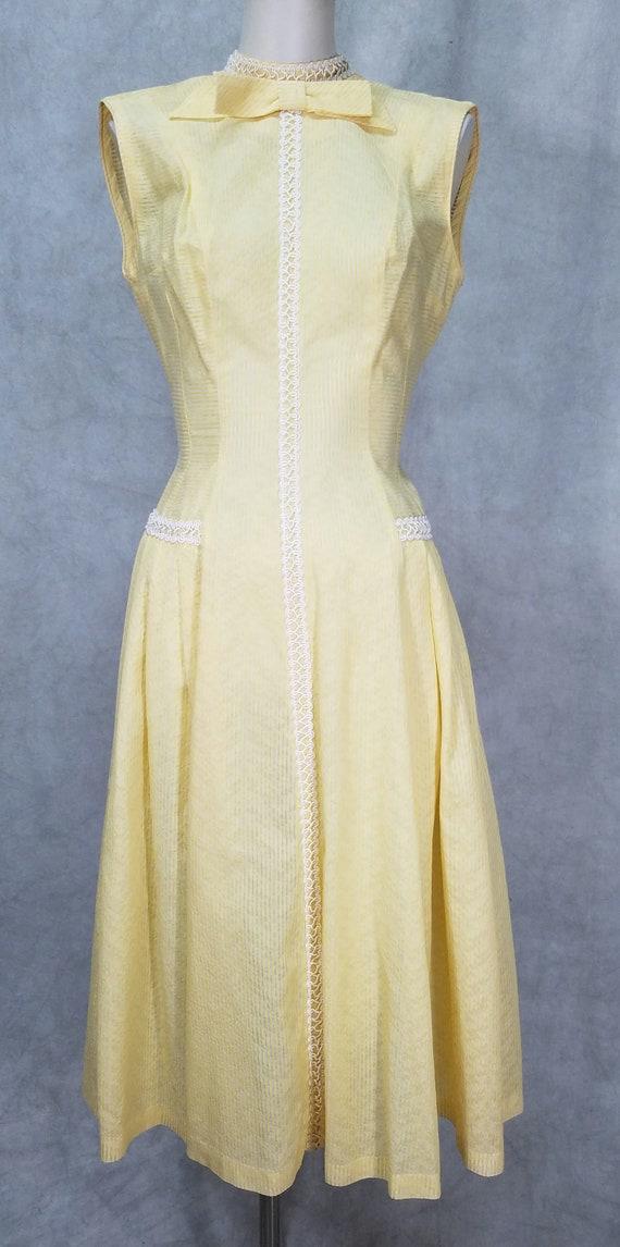 1950s Dress Yellow Cotton Summer Spring