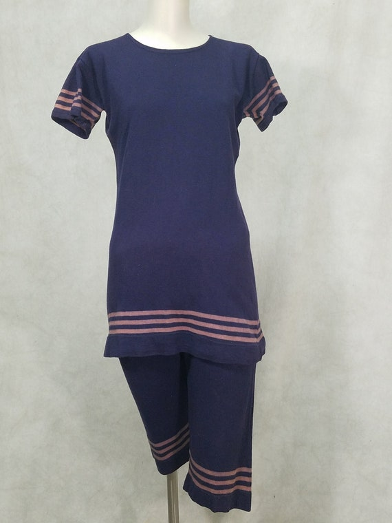 1920s Swimsuit Cotton 2 Piece Unisex Beachwear Bat