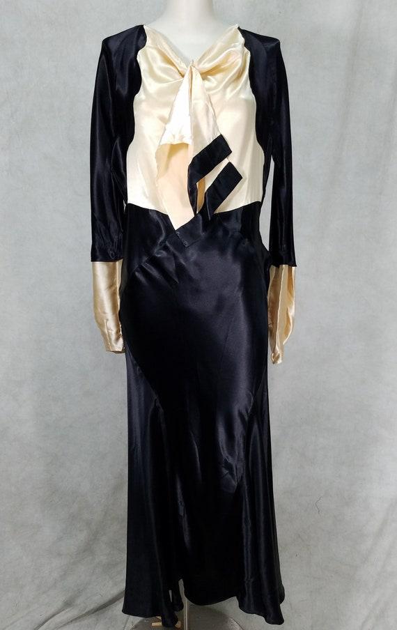 1930s Dress Bias Cut Blk Satin Unique Sleeve Shimm