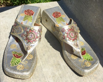 f0bd6d9a2b549 Asian Embroidered Sandals Thong Wedge Silver with Sequins