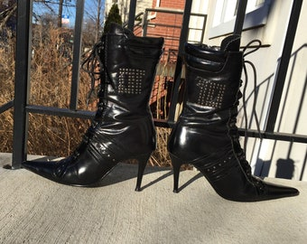7c5761362e9 Pointy Glossy Black High Heel Stiletto Zip Up Lace Up Booties with Studs  late 90s Y2k size 37 ( or 8 in US)