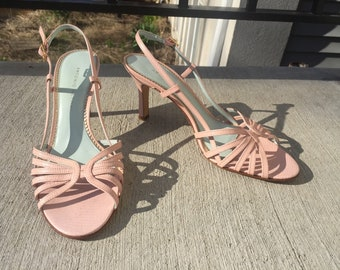 252476d8e606 Baby Pink Antonio Melani Leather Strappy Sandals with Heels Size 8m