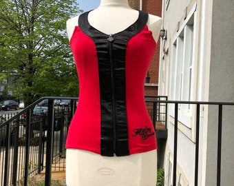 Harley Davidson Red Zip Up Tank with Satin Trim