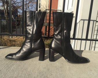 Paul Green Zip Up Black Leather Boots Block Chunky Heels Made in Australia