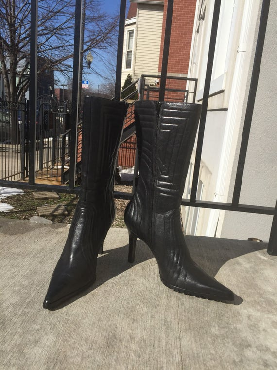 Nine West Black Leather Stiletto Zip Up Boots 90s