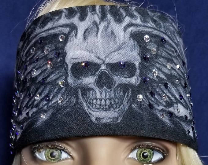Grayish black winged skull bandana with tanzanite and diamond clear swarovski crystals