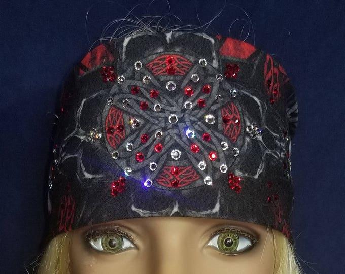 Red Celtic skull bandana