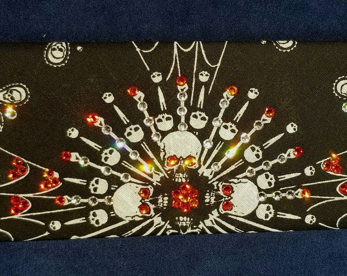 Black-and-white spider Web skull bandana with fire opal orange and clear swarovski crystals