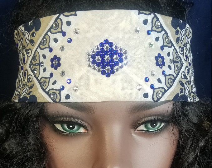 Stunning cream and blue 22 inch squared Swarovski Crystal Bandanas by Michelle
