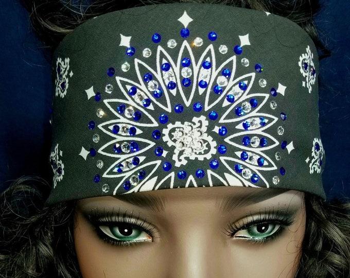 Black bandana with  right blue and diamond clear Swarovski crystals