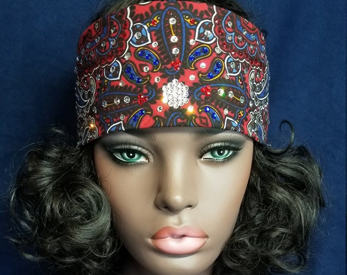 RED BLUE and CLEAR  Crystals on a brightly colored red and blue hand dyed swarovski crystal bandana