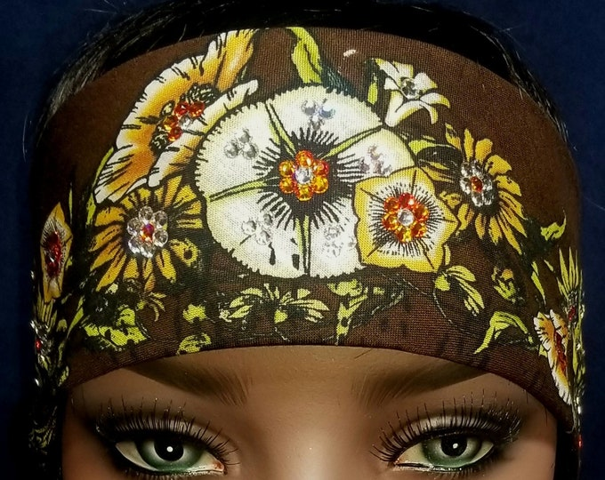 Black and Brown Flower Skull Bandana With Swarovski crystals