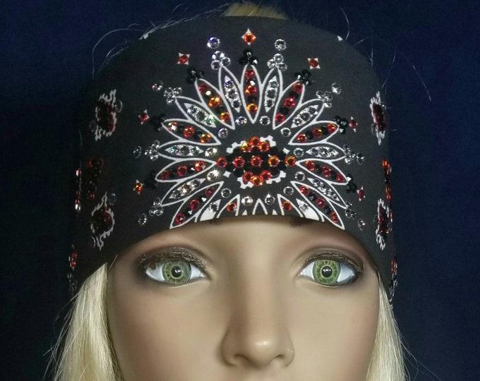 Leeannette style Black Bandana with orange, Black hematite and Diamond clear Swarovski crystals