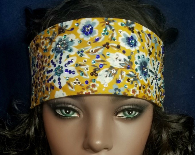 Mustard floral Swarovski crystal bandana