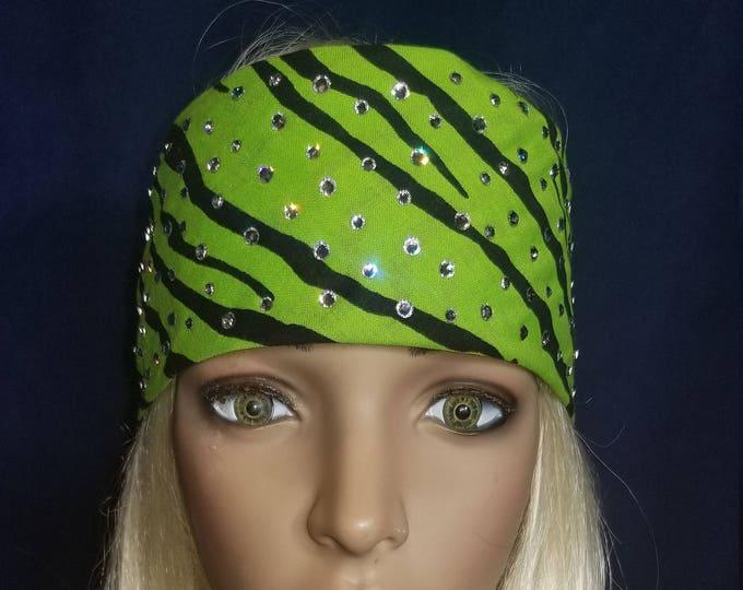 Back and lime green zebra striped bandana with diamond clear swarovski crystals