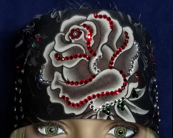 Gray rose bandana with red and diamond clear Swarovski crystals