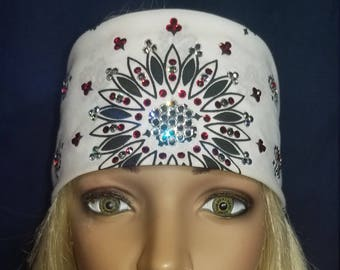 White and black Paisley bandana with diamond clear and red swarovski crystals