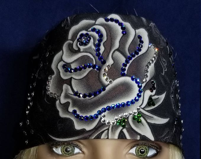 Gray rose bandana with blue and clear swarovski crystals