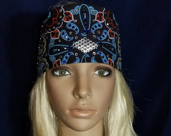 Black, Blue and Red Indian bandana with blue and clear swarovski crystals