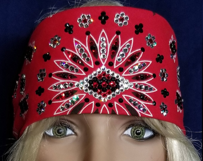 Red LeeAnnette Bandana with red, clear and black swarovski crystals