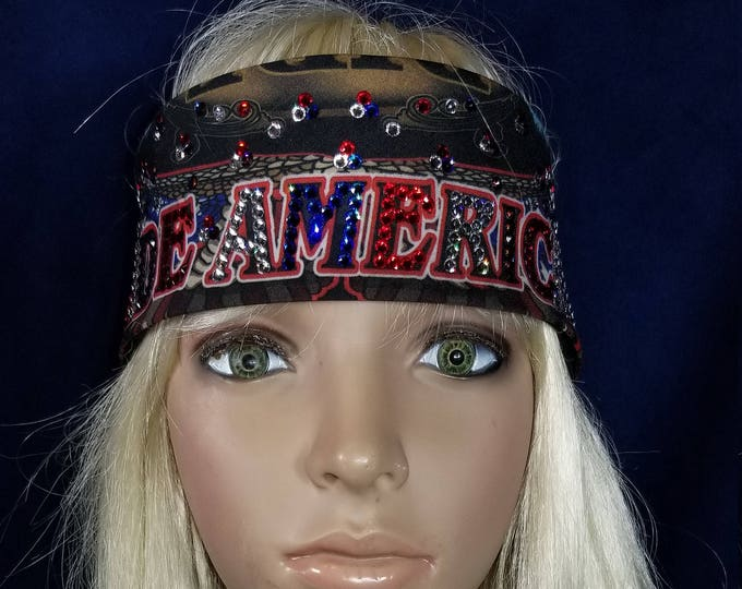 Ride American LeeAnnette bandana with over 300 red clear and blue swarovski crystals