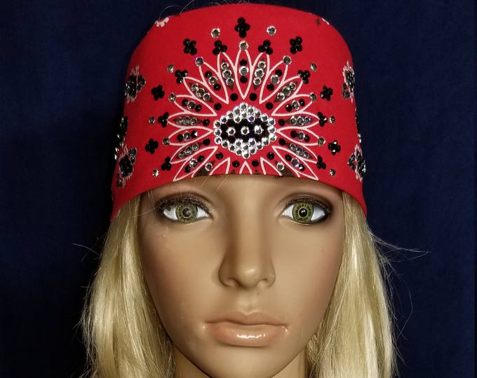 Red LeeAnnette bandana with over 300 black and diamond clear Swarovski crystals