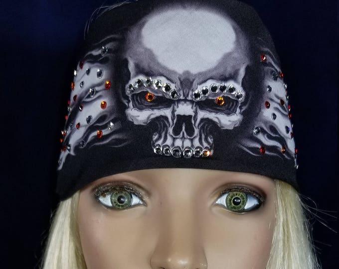 Flame Skull Bandana With Orange Swarovsk Crystals
