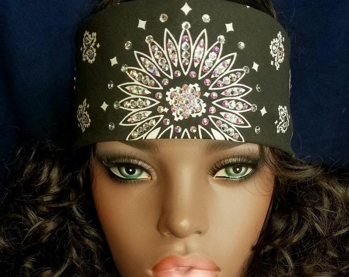 Black bandana with Aurora borealis and diamond clear swarovski crystals