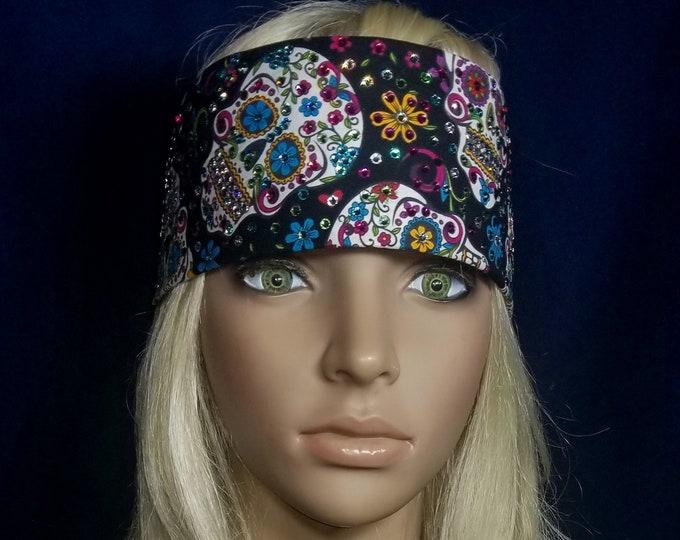 Leeannette Style Black Sugar Skull Swarovski Crystal Bandana
