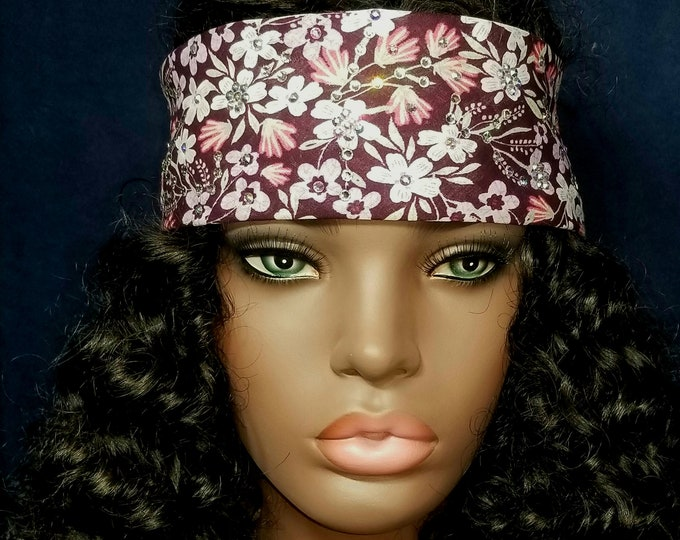 Burgundy Merlot, Mint Green and Rose colored Floral Swarovski Crystal Bandana