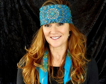 Long Turquoise and Olive Green Indian Swarovski Crystal Scarf (Sku3023)