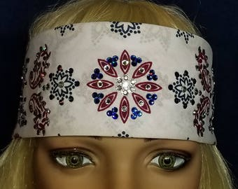 White, Red and Blue Paisley Bandana with clear and red Swarovski Crystals