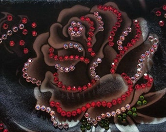 GORGEOUS Black and gray LeeAnnette rose design with OVER 300 Bright Red and diamond clear Swarovski crystals