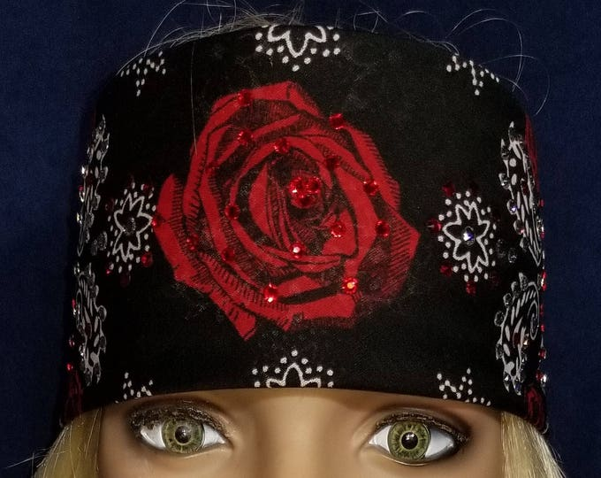 Black Rose Bandana With Swarovski Crystals