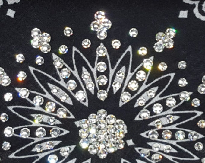 Black Bandana With Clear Swarovski Crystals