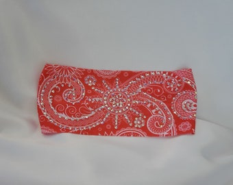 Stretchy Pinkish Red Headband With Aurora Borealis Austrian Crystals (Sku5085)