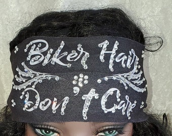 Stretchy Black Biker Hair Don't Care Headband with Clear Crystals (Sku5016)
