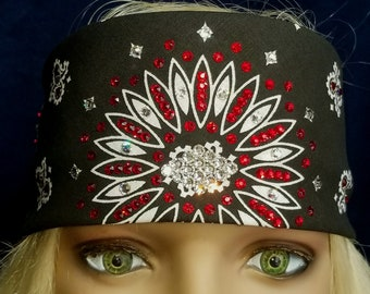 Black and white paisley bandanas by Michelle with bright red and clear Swarovski crystals